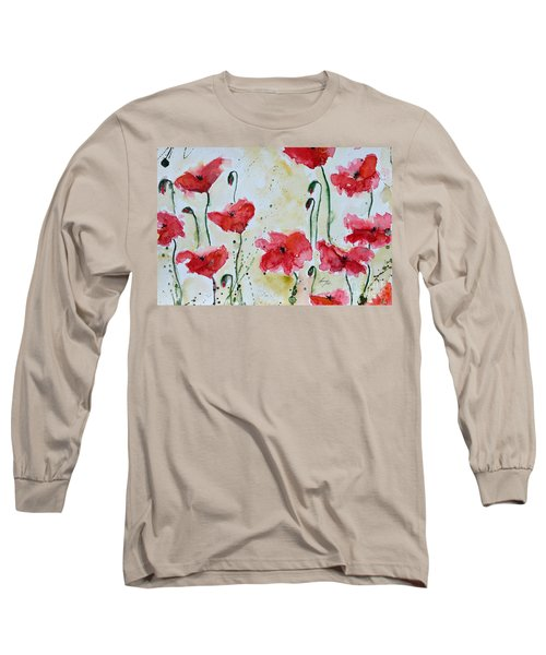Long Sleeve T-Shirt featuring the painting Feel The Summer 1 - Poppies by Ismeta Gruenwald