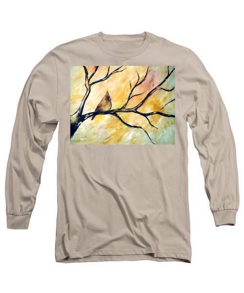 Long Sleeve T-Shirt featuring the painting Female Cardinal by Cynthia Amaral