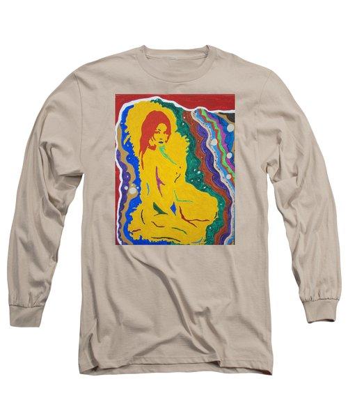 Nude Goddess Long Sleeve T-Shirt by Stormm Bradshaw