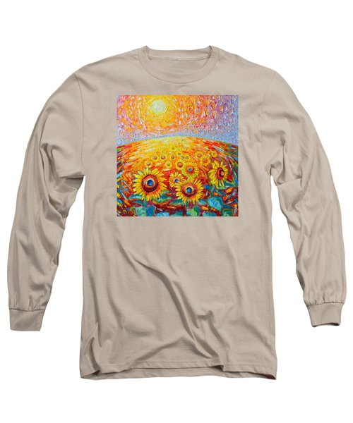 Fields Of Gold - Abstract Landscape With Sunflowers In Sunrise Long Sleeve T-Shirt by Ana Maria Edulescu