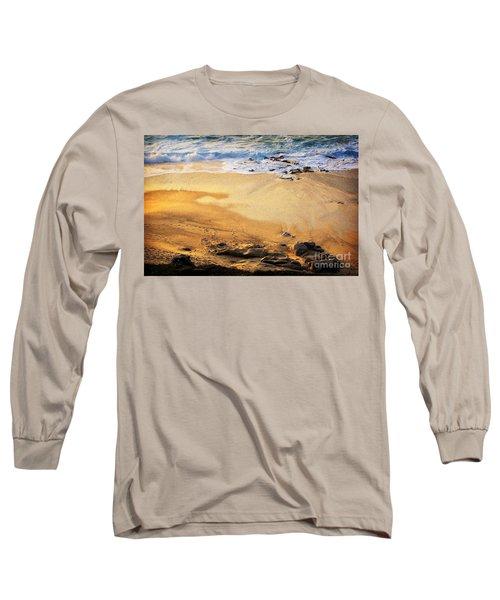 Long Sleeve T-Shirt featuring the photograph Fiery Beach by Ellen Cotton