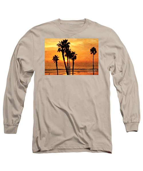 Fiery California Sunset Oceanside Beach Long Sleeve T-Shirt