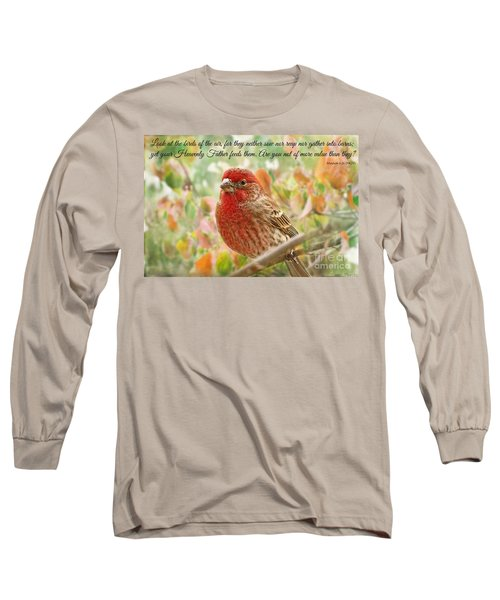 Finch With Verse New Version Long Sleeve T-Shirt by Debbie Portwood