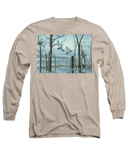 Long Sleeve T-Shirt featuring the painting First Snow by Mike Brown