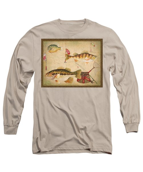 Fish Trio-a-basket Weave Border Long Sleeve T-Shirt by Jean Plout