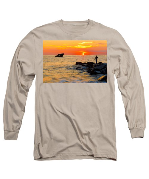 Fishing At Sunset Long Sleeve T-Shirt