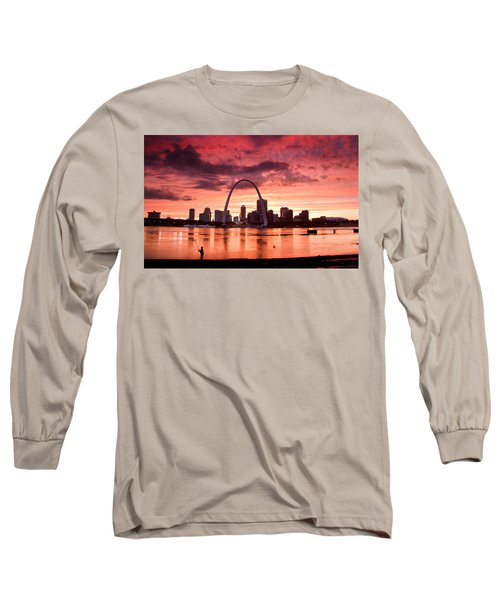 Fishing The Mississippi In St Louis Long Sleeve T-Shirt by Garry McMichael