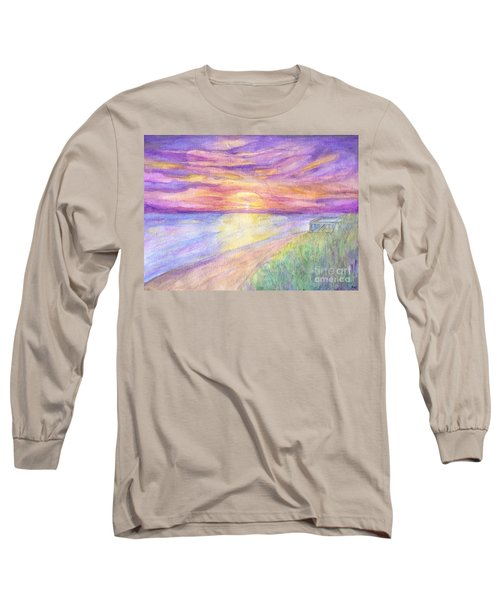 Flagler Beach Sunrise Long Sleeve T-Shirt by Roz Abellera Art
