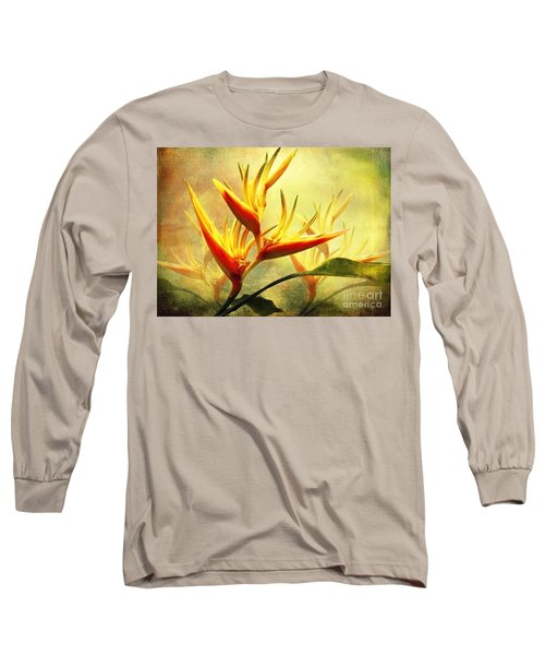 Flames Of Paradise Long Sleeve T-Shirt by Ellen Cotton