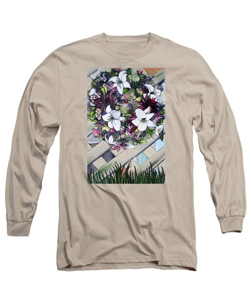 Floral Wreath Long Sleeve T-Shirt by Mary Ellen Frazee
