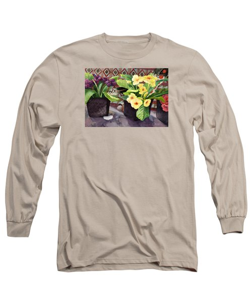 Flowers And Eagle Feathers Long Sleeve T-Shirt by Lynda Hoffman-Snodgrass