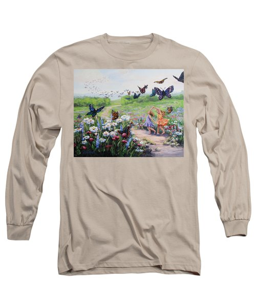 Long Sleeve T-Shirt featuring the painting Flutterby Dreams by Karen Ilari