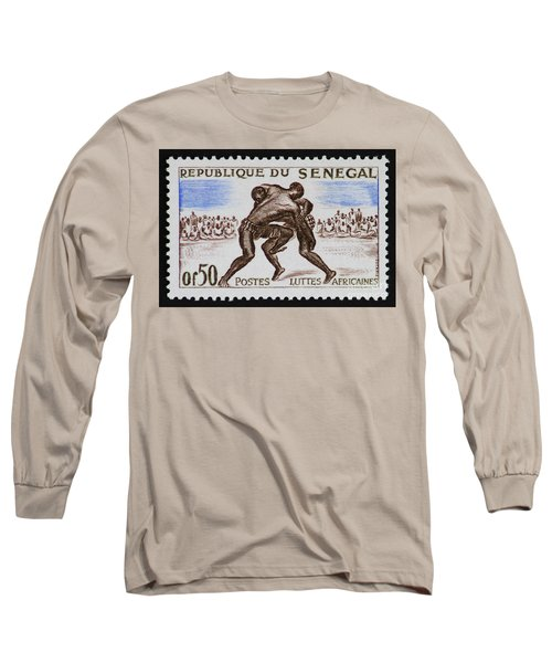 Folk Wrestling Vintage Postage Stamp Print Long Sleeve T-Shirt by Andy Prendy