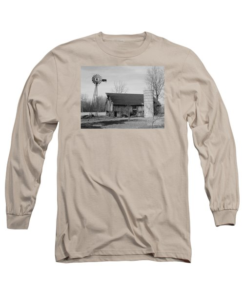 Forgotten Farm In Black And White Long Sleeve T-Shirt by Judy Whitton