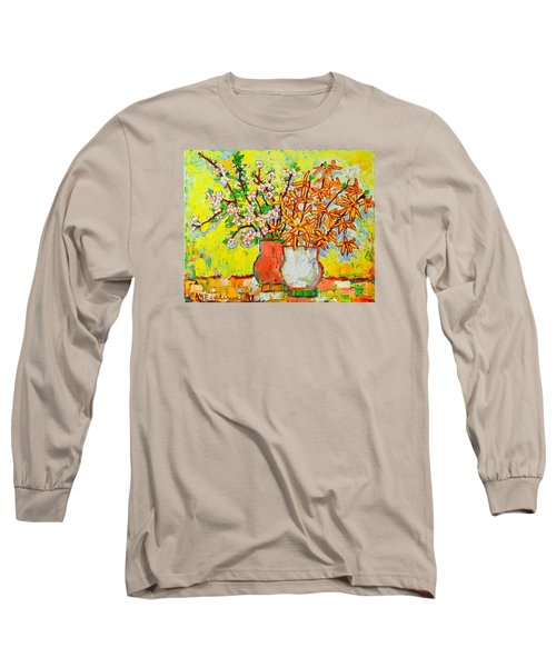 Forsythia And Cherry Blossoms Spring Flowers Long Sleeve T-Shirt by Ana Maria Edulescu