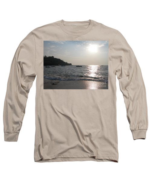 Long Sleeve T-Shirt featuring the photograph Fort Aguada Beach by Mini Arora