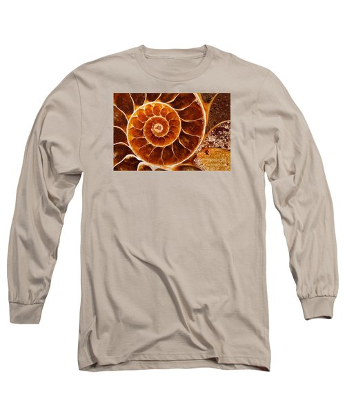 Fossil Nautilus Long Sleeve T-Shirt by Alice Cahill