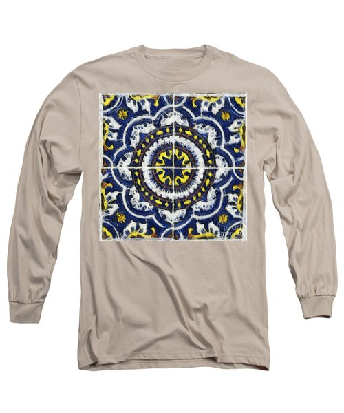 Four Painted Tiles-mexico Long Sleeve T-Shirt by Michael Flood