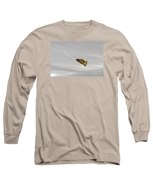Fox In The Snow-signed Long Sleeve T-Shirt by J L Woody Wooden
