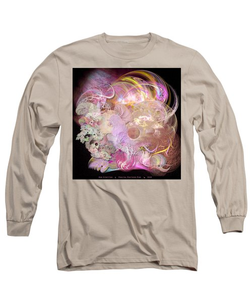 Fractal Feathers Pink Long Sleeve T-Shirt