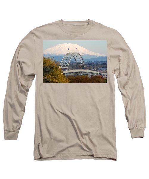 Fremont Bridge And Mount Saint Helens Long Sleeve T-Shirt