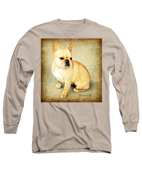 Long Sleeve T-Shirt featuring the photograph French Bulldog Antique by Barbara Chichester