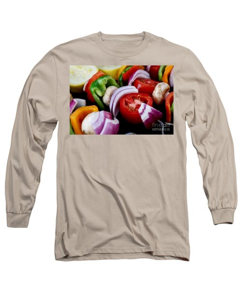 Fresh Veggie Kabobs On The Grill Long Sleeve T-Shirt by Peggy Hughes