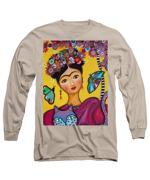 Long Sleeve T-Shirt featuring the painting Frida Kahlo And Her Cat by Pristine Cartera Turkus