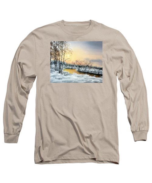 Long Sleeve T-Shirt featuring the painting Frozen by Vesna Martinjak