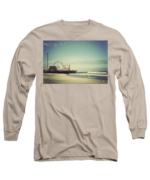 Funtown Pier Seaside Heights New Jersey Vintage Long Sleeve T-Shirt by Terry DeLuco