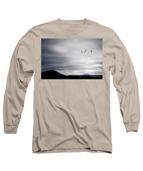 Long Sleeve T-Shirt featuring the photograph Geese Flying South For Winter by Peta Thames