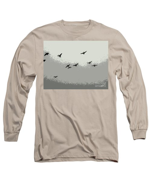 Long Sleeve T-Shirt featuring the photograph Geese In Sillouehette by Nina Silver