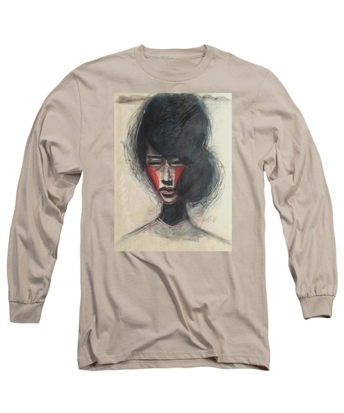 Long Sleeve T-Shirt featuring the painting Geisha Make Up by Jarmo Korhonen aka Jarko