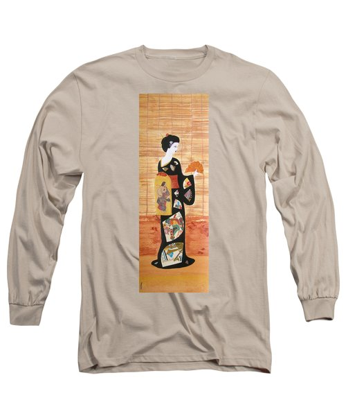 Long Sleeve T-Shirt featuring the painting Geisha by Mini Arora