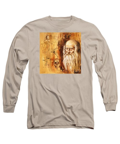 Genius   Leonardo Da Vinci Long Sleeve T-Shirt by Arturas Slapsys