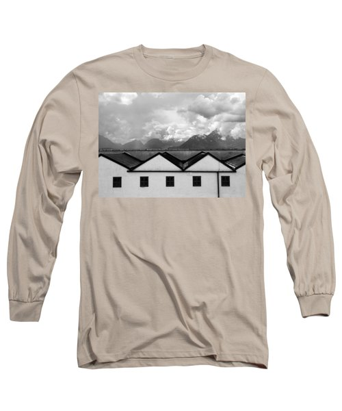 Geometric Architecture In Black And White Long Sleeve T-Shirt