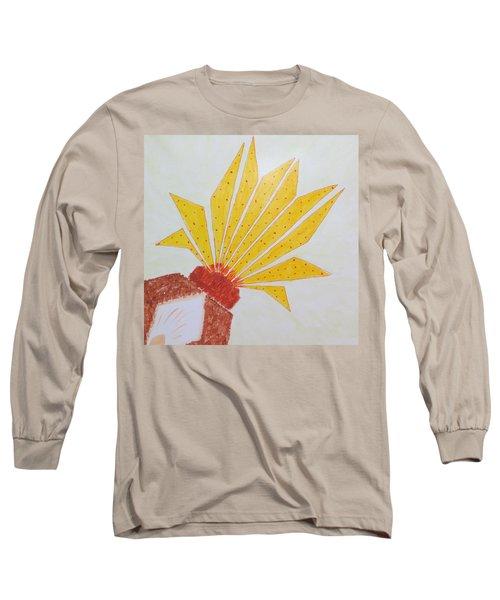 Geometric Blooming Lotus Long Sleeve T-Shirt by Sonali Gangane