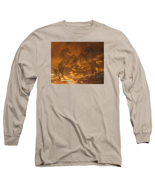 Ghost Horses At Sunset Long Sleeve T-Shirt by Donald and Judi Hall