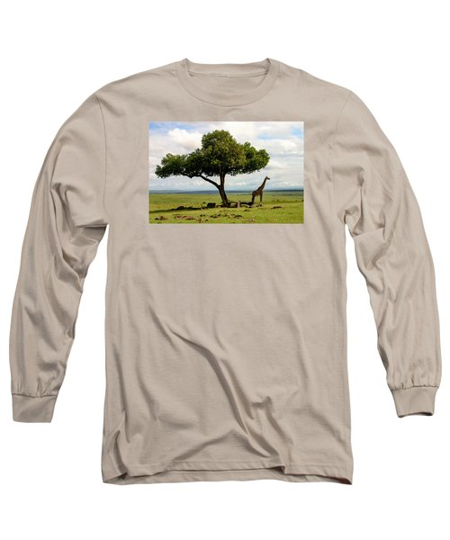 Giraffe And The Lonely Tree  Long Sleeve T-Shirt by Menachem Ganon