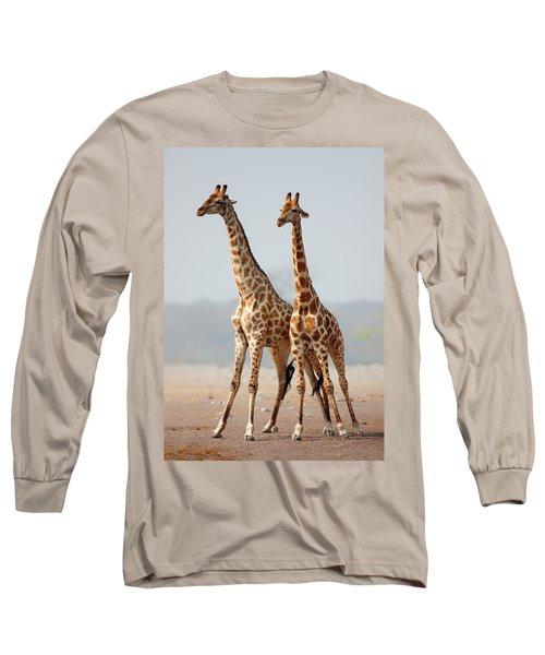 Giraffes Standing Together Long Sleeve T-Shirt
