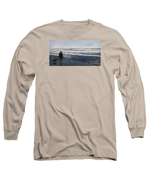 Girl And Dog Walking On The Beach Long Sleeve T-Shirt by Ian Donley