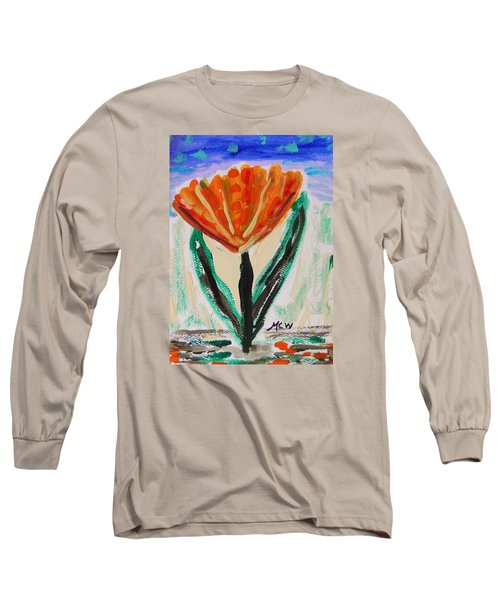 Long Sleeve T-Shirt featuring the painting Girl-flowers From The Flower Patch by Mary Carol Williams