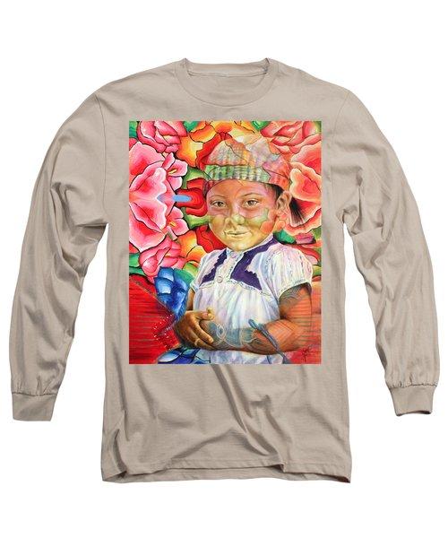Girl In Flowers Long Sleeve T-Shirt
