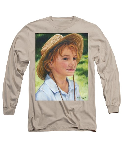 Long Sleeve T-Shirt featuring the painting Girl In Straw Hat by Lori Brackett