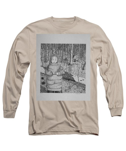 Girl In The Forest Long Sleeve T-Shirt by Daniel Reed