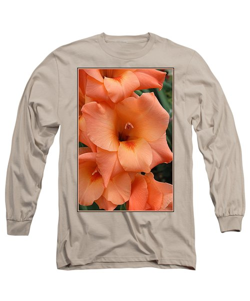 Gladiola In Peach Long Sleeve T-Shirt by Dora Sofia Caputo Photographic Art and Design