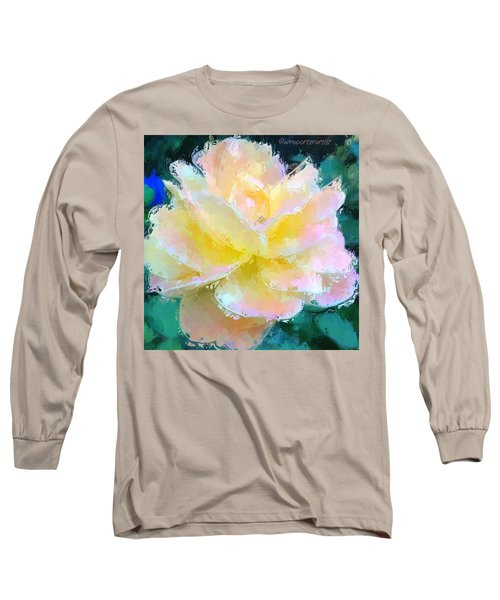 Glazed Pale Pink And Yellow Rose  Long Sleeve T-Shirt