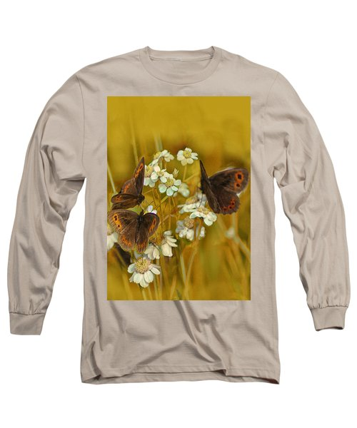 Gold And Brown Long Sleeve T-Shirt by Jacqi Elmslie