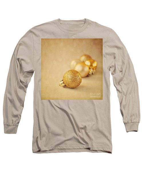 Gold Glittery Christmas Baubles Long Sleeve T-Shirt by Lyn Randle