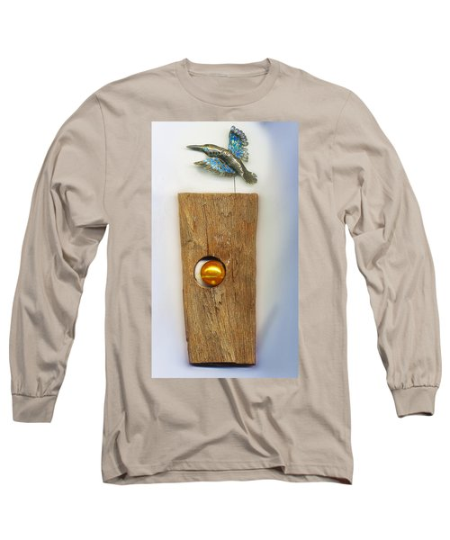 Long Sleeve T-Shirt featuring the sculpture Gold  Orb by Hartmut Jager